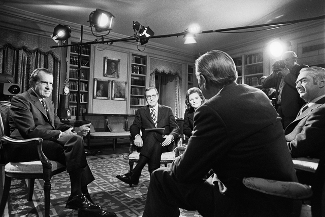 "President Richard Nixon during an Interview with John Chancellor, Eric Sevareid, Howard K. Smith and Nancy Dickerson for the Television Special Program ""A Conversation with the President"""
