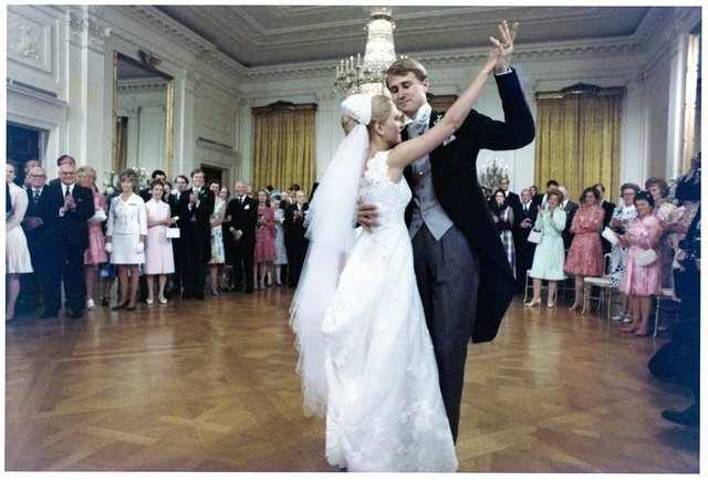 Ed Cox and Tricia Nixon Cox Dancing the First Dance at their Wedding Reception in the White House East Room