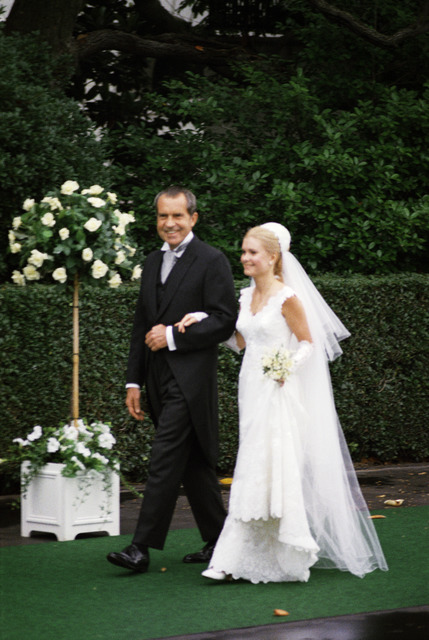 President Richard M. Nixon Escorts Daughter Tricia to Her Wedding in the White House Rose Garden