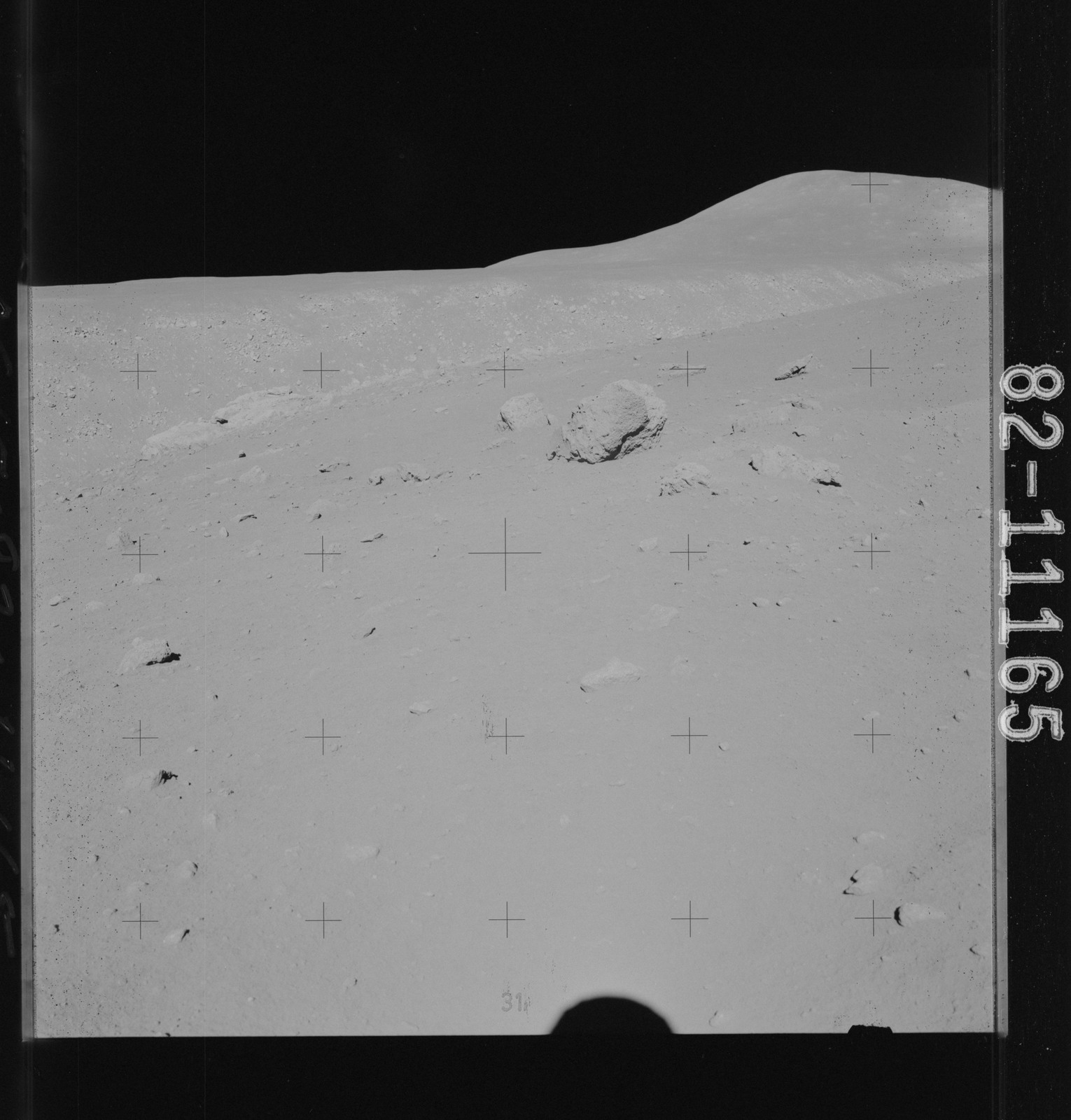 AS15-82-11165 - Apollo 15 - Apollo 15 Mission image - Panoramic view of Station 10 , Hill 305 and  Rille, Down Sun