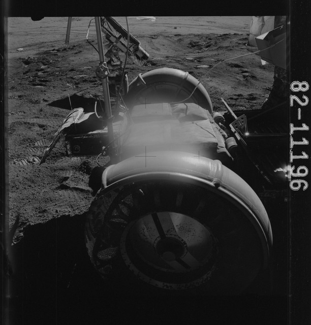 AS15-82-11196 - Apollo 15 - Apollo 15 Mission image - Close-up view of the Lunar Module (LM) station and the Lunar Roving Vehicle (LRV)