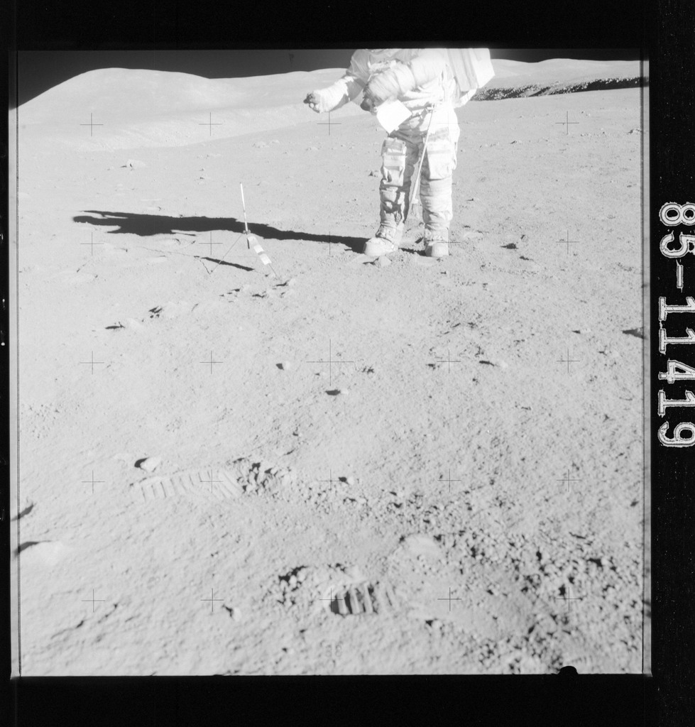 AS15-85-11419 - Apollo 15 - Apollo 15 Mission image - Panoramic view of Station 1 and the location of Sample 157