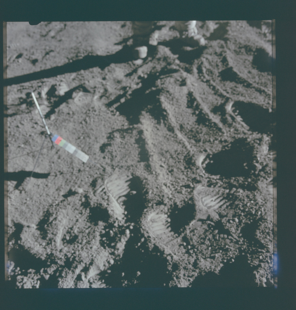 AS15-86-11572 - Apollo 15 - Apollo 15 Mission image - View of Station 2, and Sample 186, Cross Sun