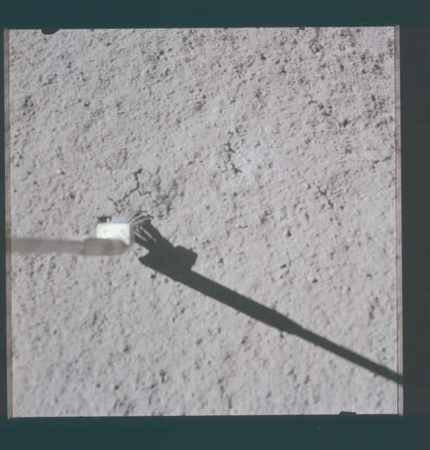 AS15-86-11626 - Apollo 15 - Apollo 15 Mission image - View of Station 6 and impact point for football size sample D
