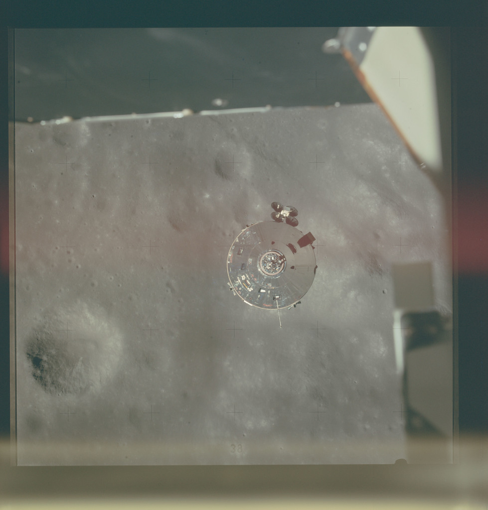 AS15-87-11695 - Apollo 15 - Apollo 15 Mission image - View of the Command Service Module (CSM) and Eastern Sea of Serenity