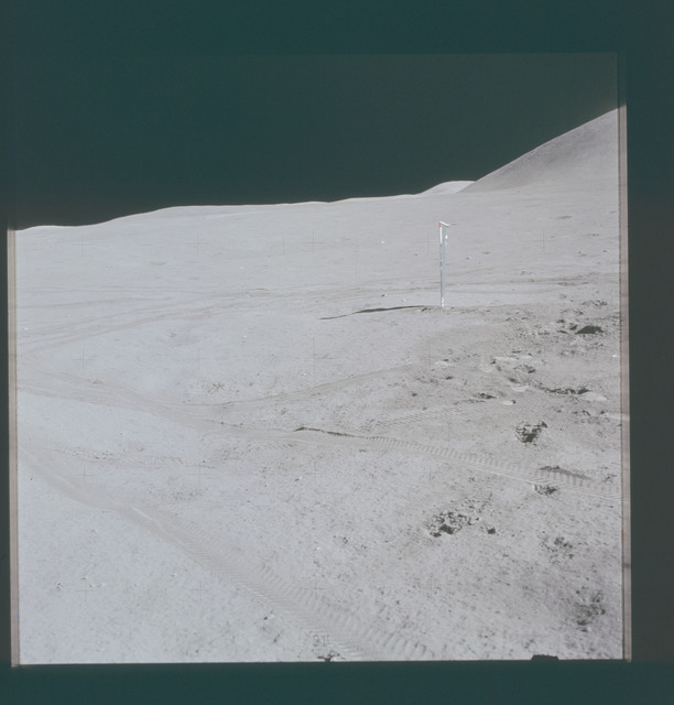 AS15-87-11790 - Apollo 15 - Apollo 15 Mission image - Panoramic view of Lunar Module (LM) station and Mt. (Mons) Hadley SWC