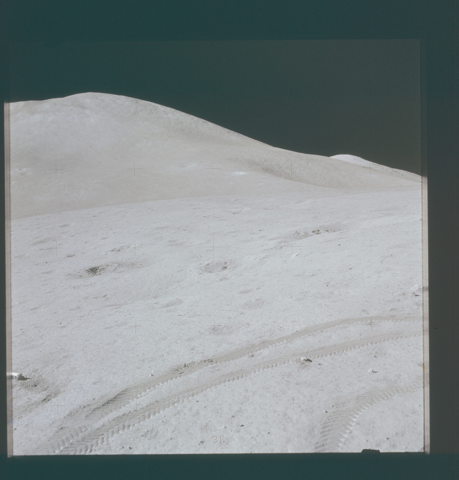AS15-87-11827 - Apollo 15 - Apollo 15 Mission image - Panoramic southeast view of Lunar Module (LM) and Mt. (Mons) Hadley Delta