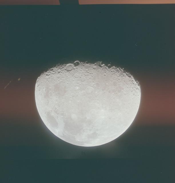 AS15-88-12013 - Apollo 15 - Apollo 15 Mission image - Lunar Disc with Seas of Crises (Mare Crisium), Fertility (Mare Fecunditatis), Serenity (Mare Serenitatis) and Smyth's Sea (Mare Smythii)