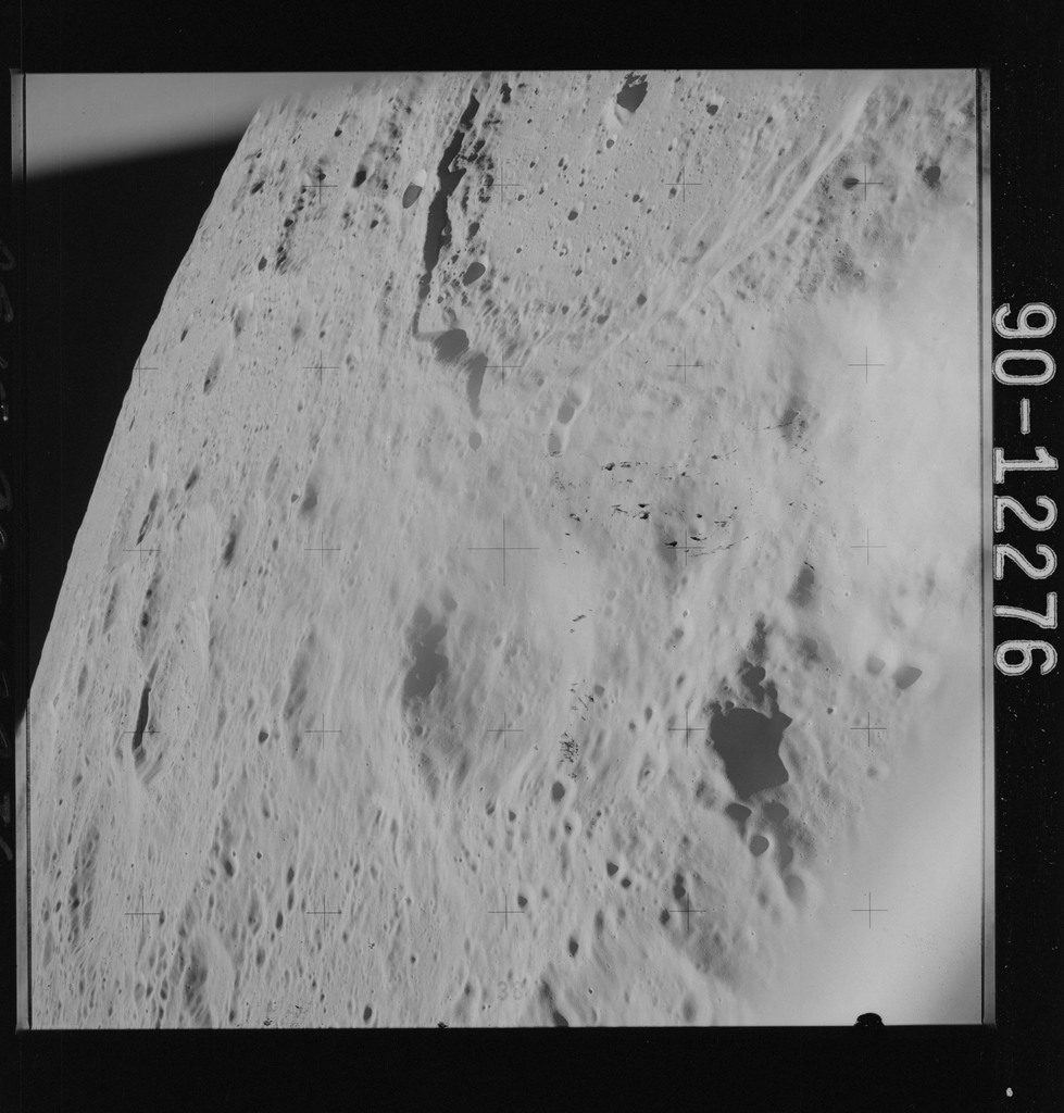AS15-90-12276 - Apollo 15 - Apollo 15 Mission image - View of Craters Herodotus, Wollaston W and Aristarchus VIII Rille