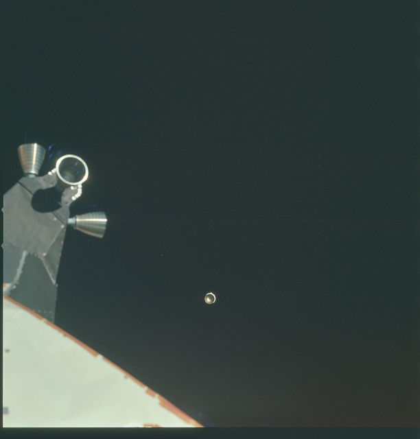 AS15-91-12339 - Apollo 15 - Apollo 15 Mission image - SIVB stage is visible to the right of the Lunar Module (LM) thrusters