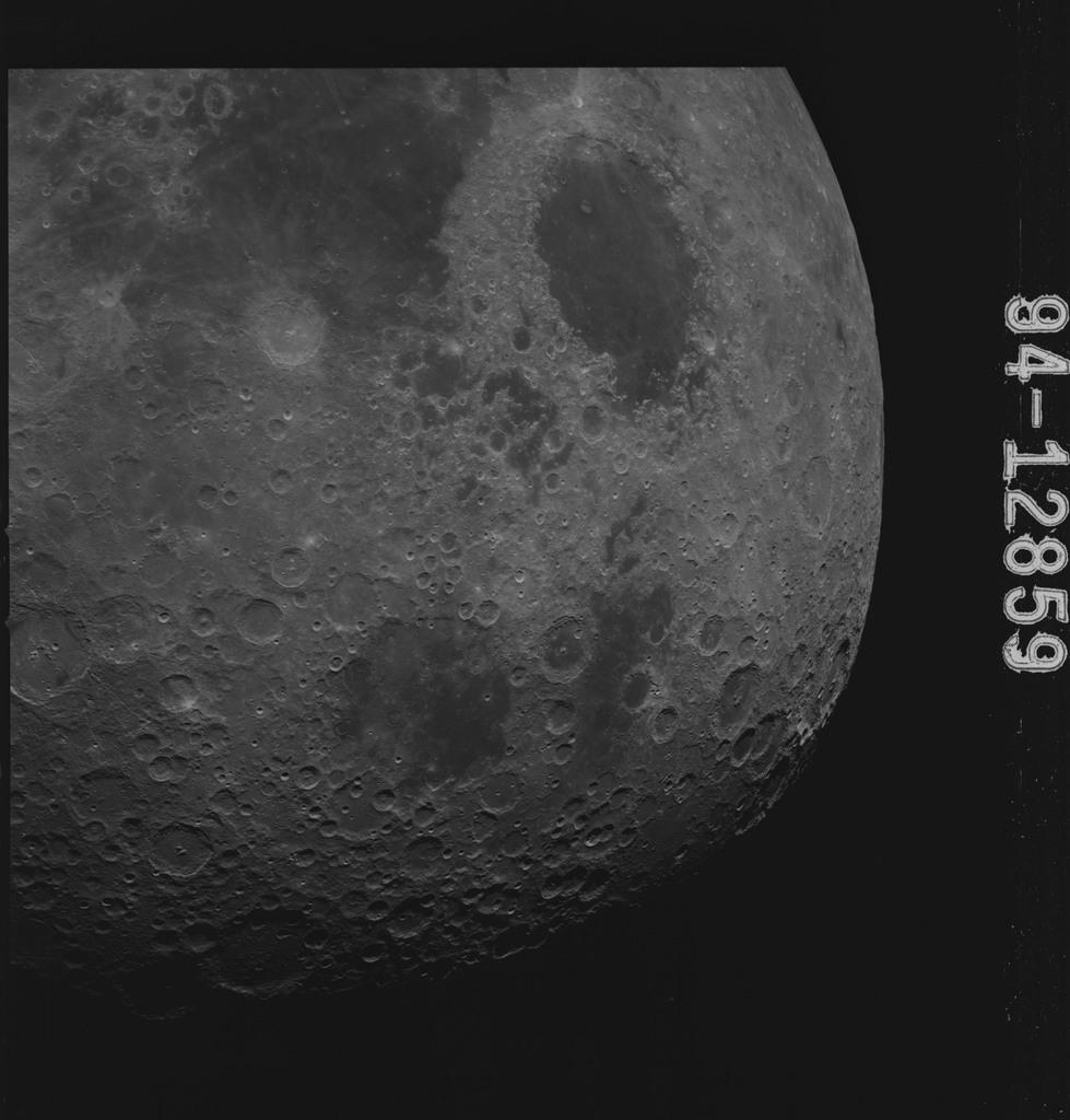 AS15-94-12859 - Apollo 15 - Apollo 15 Mission image - Smyth's Sea (Mare Smythii), and the Seas of Crises (Mare Crisium) and Fertility (Mare Fecunditatis)