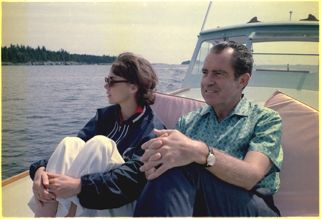 President Richard M. Nixon and Daughter Julie Nixon Eisenhower on the Prow of the Boat Nellie, during a Cruise near Minot Island, Maine