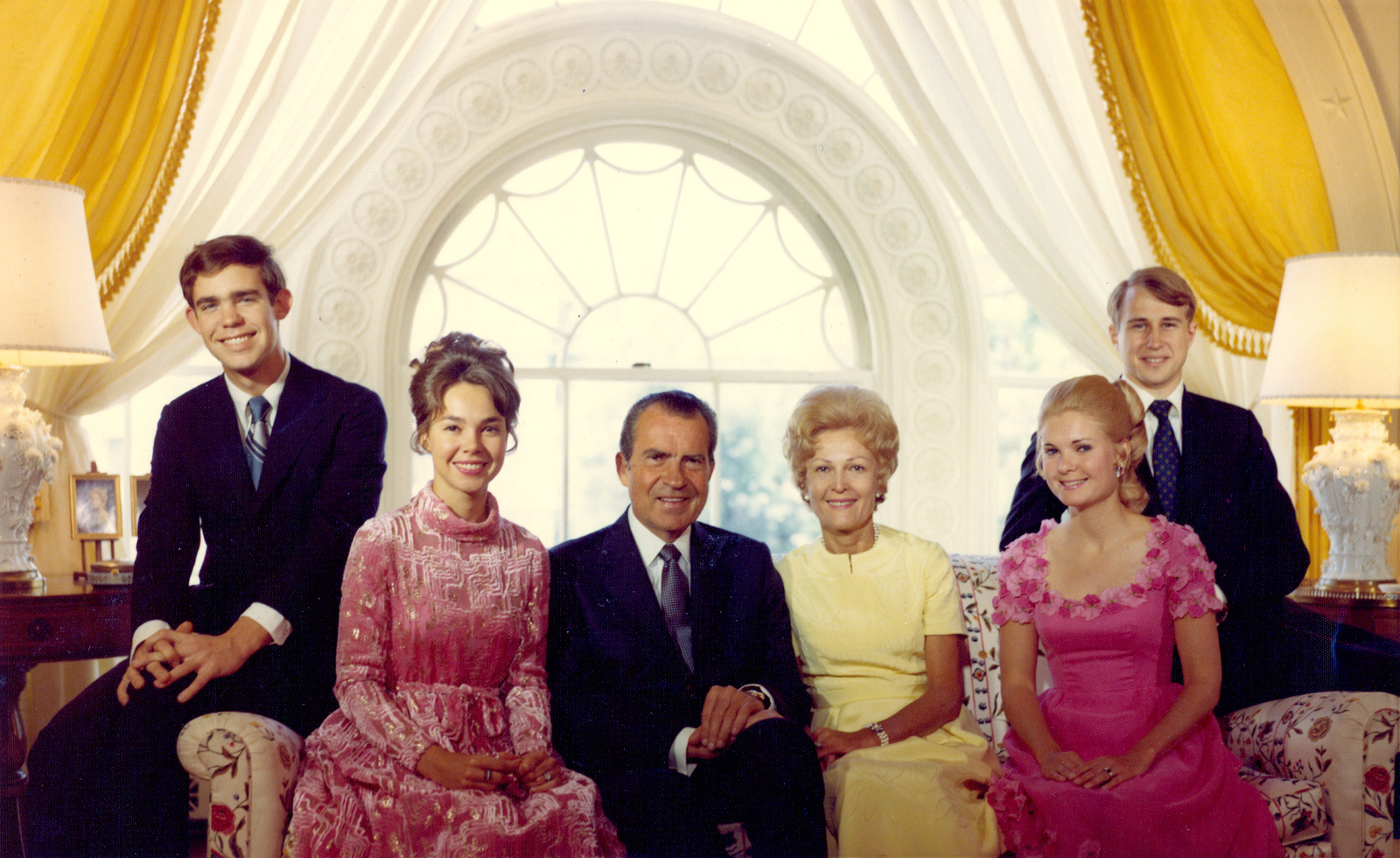 Nixon Family Portrait Taken in the White House Living Quarters