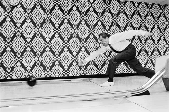 President Richard Nixon Bowling in the White House Bowling Alley