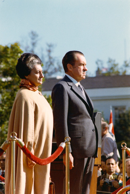 President Richard Nixon and Republic of India's Prime Minister Indira Gandhi during Her Arrival Ceremony at the White House