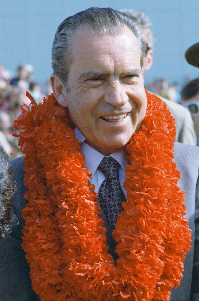 President Richard Nixon Wearing a Traditional Lei Garland during a Stopover in Hawaii en route to China
