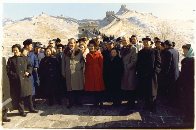 President Richard Nixon and First Lady Pat Nixon Visiting the Great Wall of China