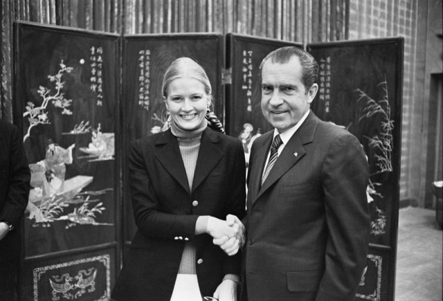 President Richard Nixon Shaking Hands with White House Staff Member Diane Sawyer in China