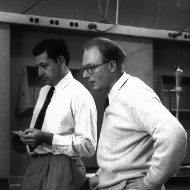 Discovery of element 101, 1958. Al Ghiorso (left)  and Bernie Harvey, taken April 24, 1972.  Principal Investigator/Project: Analog Conversion Project