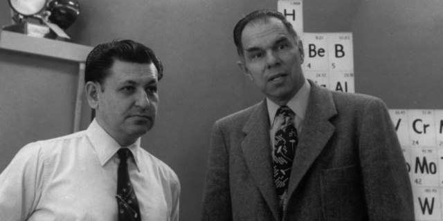 Discovery of element 101, 1958. Al Ghiorso (left) and Glenn Seaborg, taken April 24, 1972. Principal Investigator/Project: Analog Conversion Project