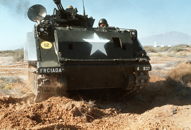 An M-163A1 Vulcan self-propelled anti-aircraft gun is deployed during a field exercise