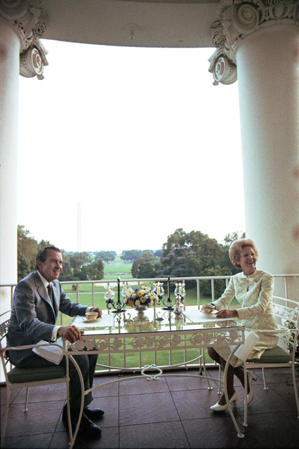 President Richard Nixon and Pat Nixon Having Coffee on the White House Truman Balcony