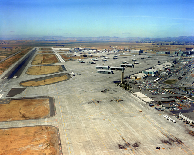 An aerial view of the runway and flight line area