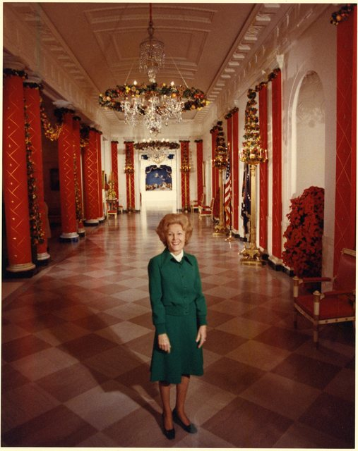 Pat Nixon Standing with the White House Tour Officers, and Greeting them Individually