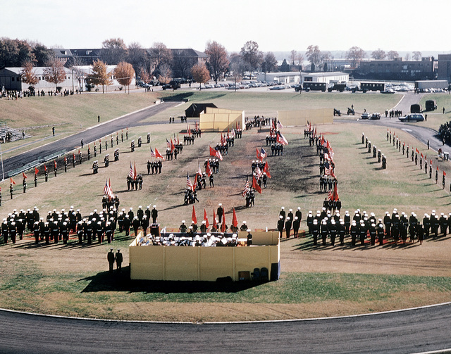A view of a Marine Corps birthday pageant held in the stadium