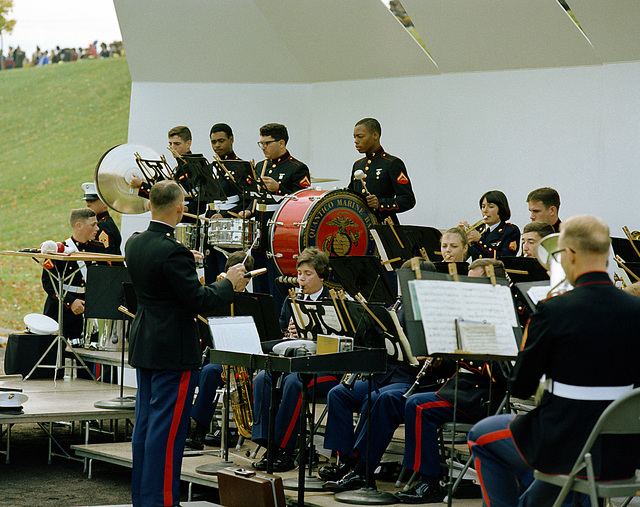 The Quantico Marine Band plays during a Marine Corps birthday pageant held in the stadium