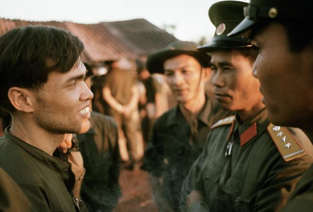 U.S. SGT. Felix Neco-Quinones, right, upon his release from the prisoner of war camp