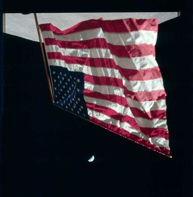 AS17-134-20466 - Apollo 17 - Apollo 17 Mission image - STA LM, Flag