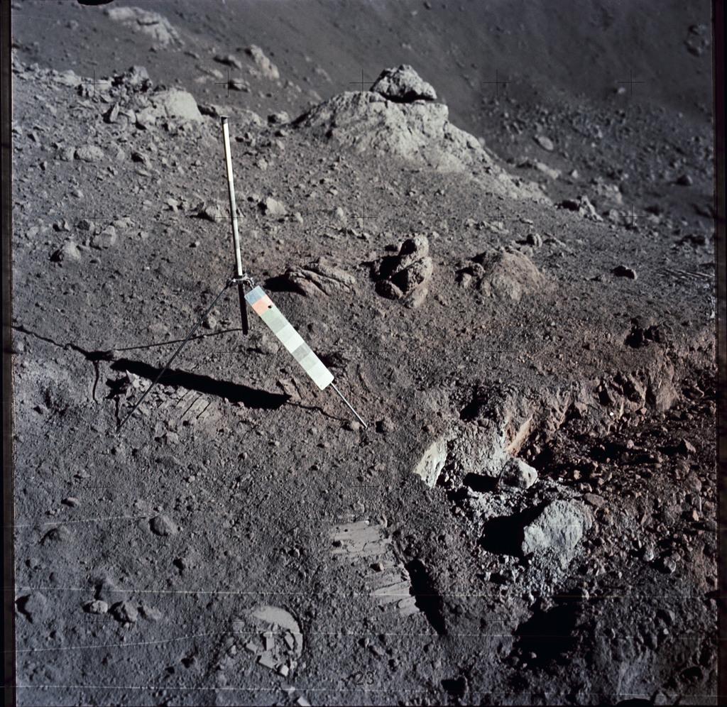 AS17-137-20984 - Apollo 17 - Apollo 17 Mission image - LRV Traverse, STA 3 to STA 4, SPL 4115