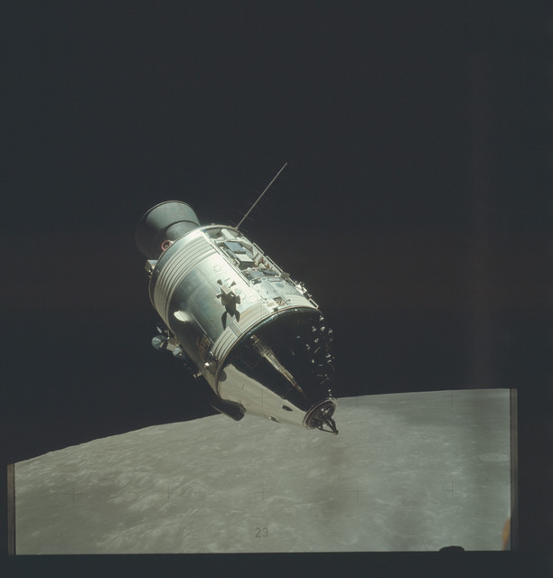 AS17-145-22261 - Apollo 17 - Apollo 17, Command/Service Module viewed from the lunar module during SIM Bay Inspection