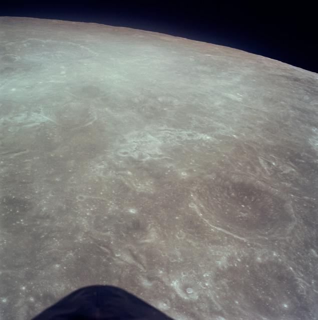 AS17-149-22781 - Apollo 17 - Apollo 17, Radar antenna with moon in background
