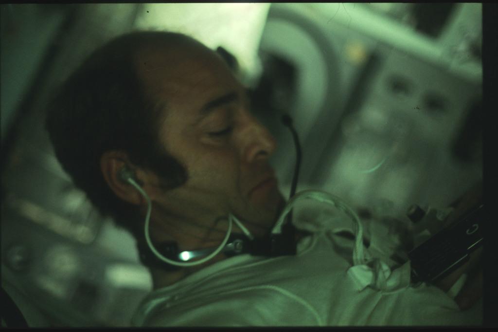 AS17-163-24175 - Apollo 17 - Apollo 17, Cernan inside the Command Module