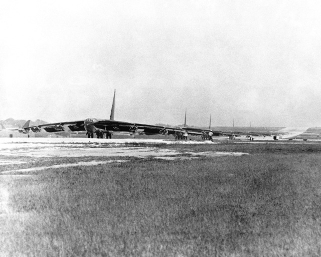 A B-52D Stratofortress aircraft, from Strategic Air Command, line up for takeoff as they prepare for strikes over Hanoi and Haiphong, North Vietnam, during Operation LINEBACKER
