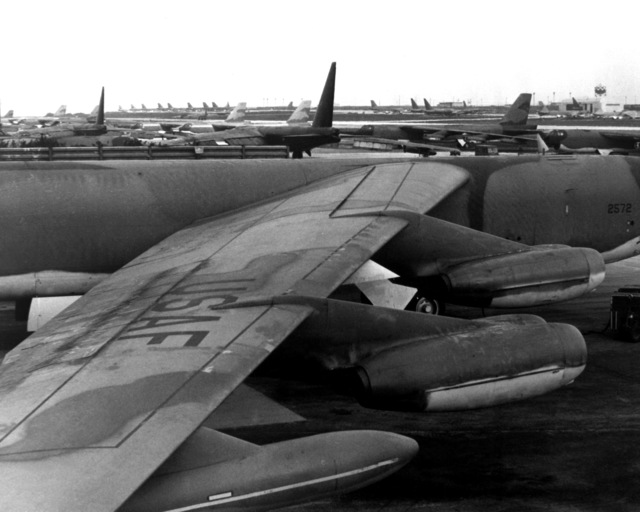 A view of Strategic Air Command's parked B-52 Stratofortress aircraft, prior to their participation in Linebacker Operations over North Vietnam