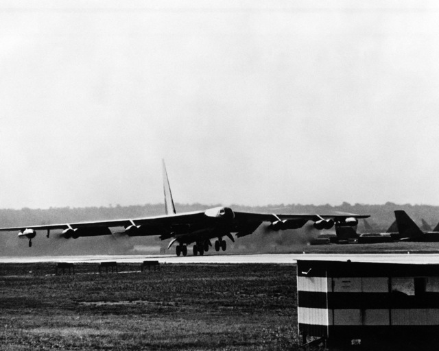 Right front view of a B-52D Stratofortress aircraft from Strategic Air Command taking off for a mission over North Vietnam during Operation LINEBACKER