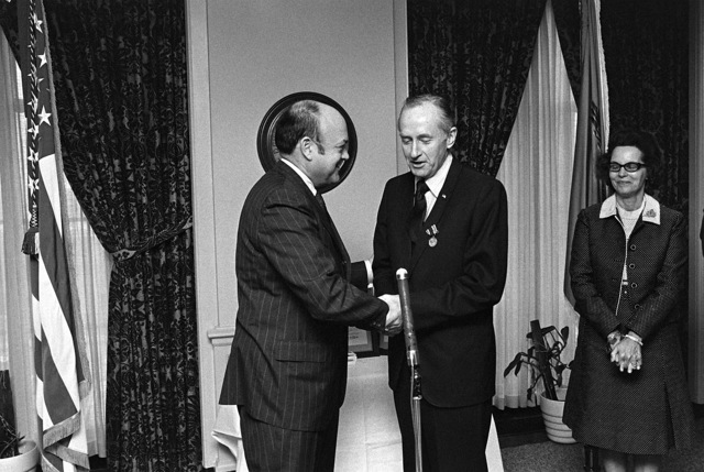 Secretary of Defense Melvin R. Laird, left, Barry J. Shillito, assistant secretary of defense for installations and logistics, after presenting him with the Department of Defense Distinguished Public Service Medal at a Pentagon ceremony. Shillito has served in his position since February 1, 1969