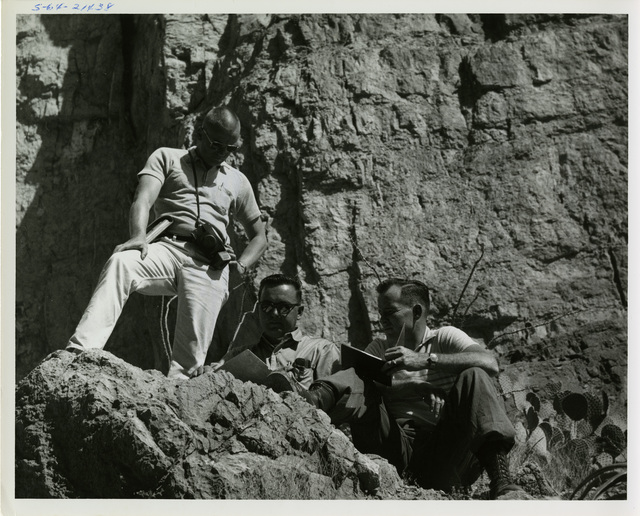 NASA Manned Spacecraft Center Astronauts Receiving Gelogical Training from NASA Geologists During a Field Trip to the Big Bend Area of West Texas