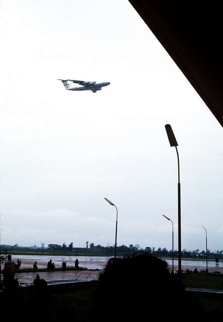 A C-141 Starlifter aircraft departs Gia Lam Airport carrying recently released prisoners of war