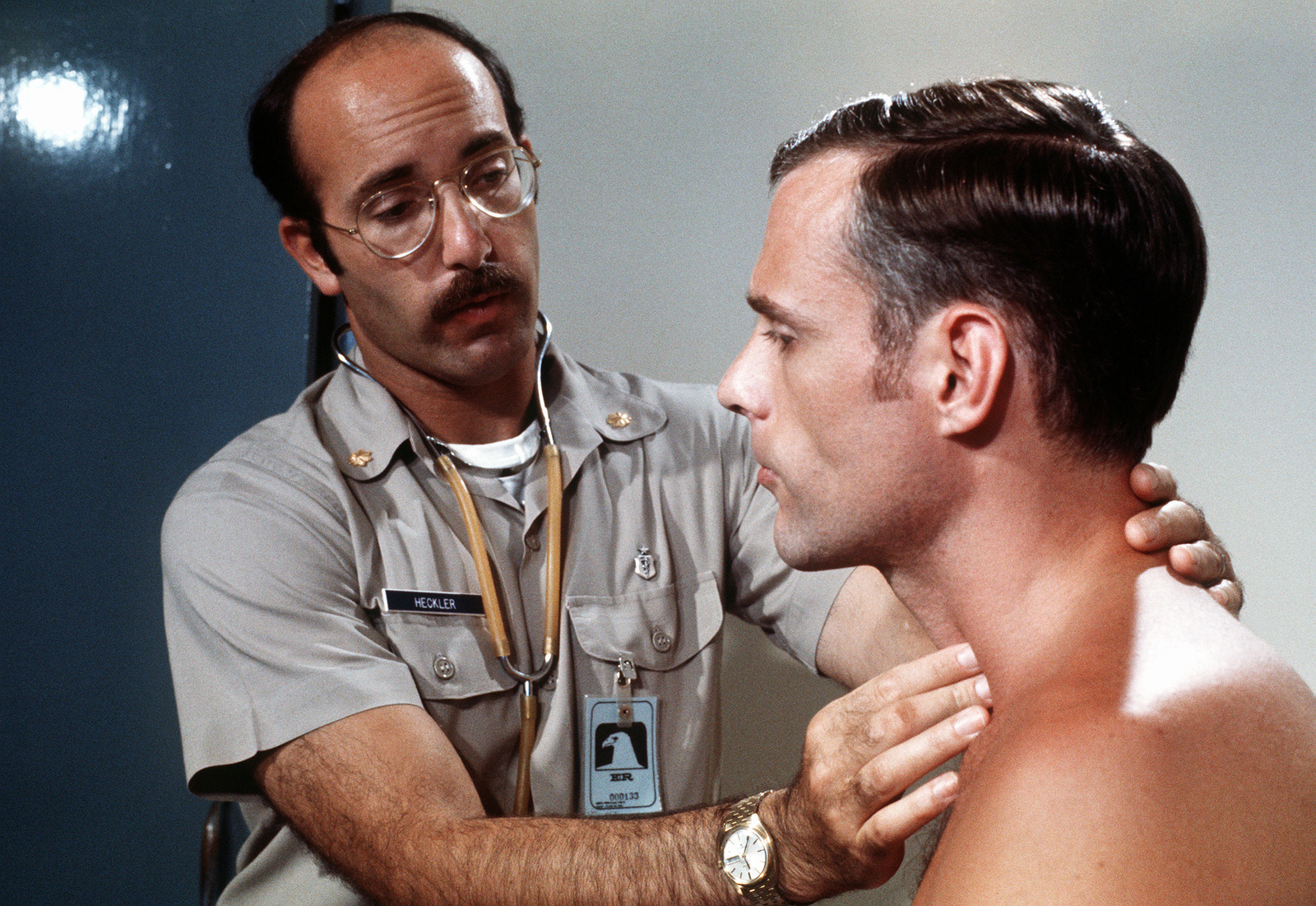 A returnee receives a physical examination at the hospital shortly after being released from a prisoner of war camp in Vietnam