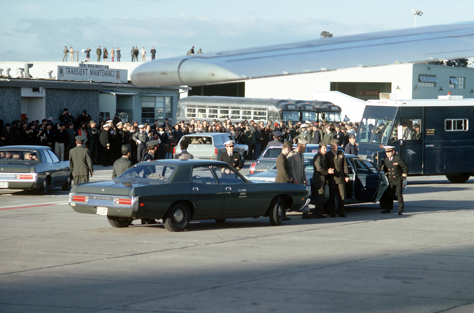 A view of the crowd gathered to welcome recently released prisoner of war home from Vietnam