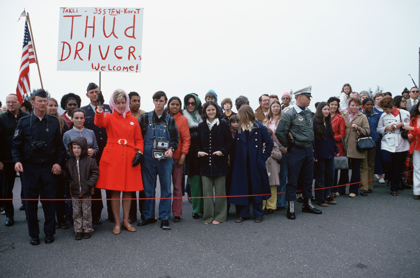 A view of the crowd gathered to welcome recently released prisoners of war home from Vietnam