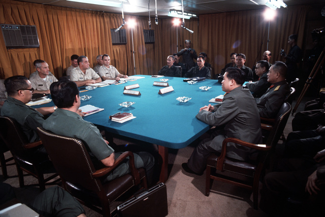 A view of the four-party joint military conference held prior to the release of prisoners of war held at Loc Ninh