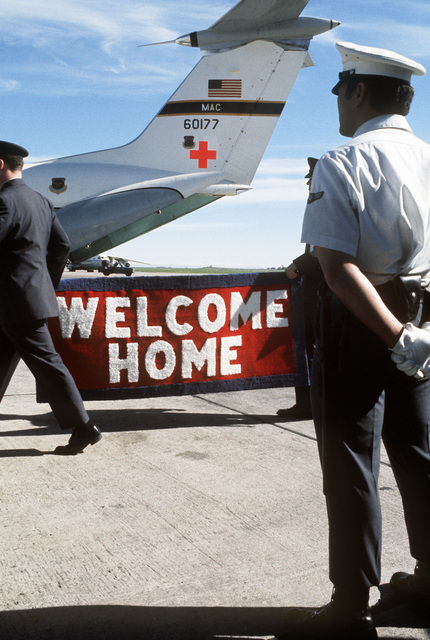 A view of the welcome home sign prepared to greet recently released from a prisoner of war home from Vietnam