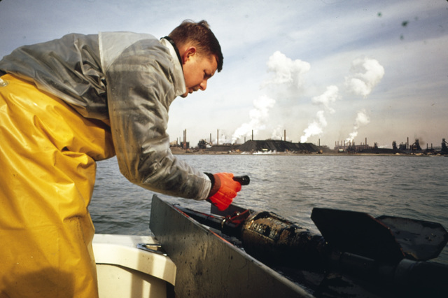 Ron Jones, a Member of the EPA Annapolis Field Office, Takes Bottom Samples as Part of a Systematic Check of Baltimore Harbor the Area being Sampled Here is Near Bethlehem Steel's Sparrow Point Plant