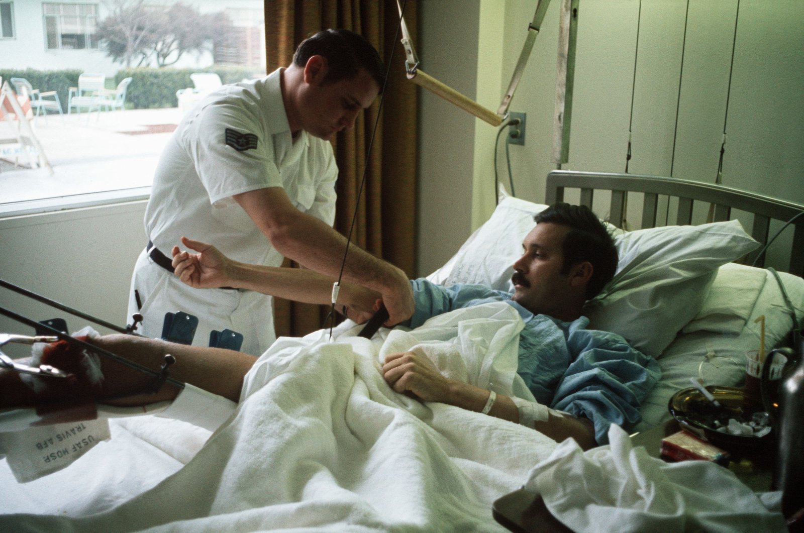 STAFF Sergeant Roy Madden, a recently released prisoner of war, recuperates at the Travis medical facility