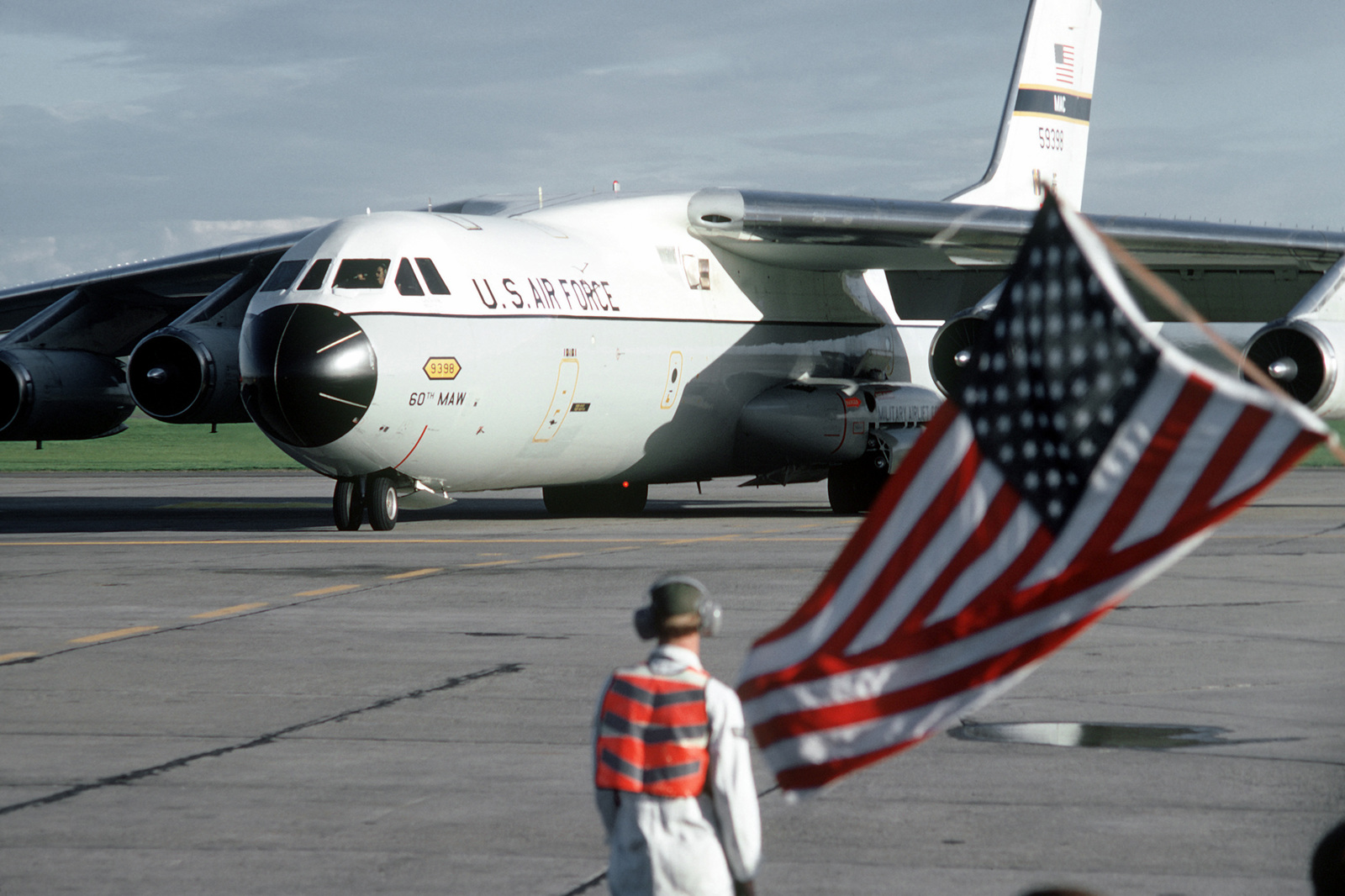 The C-141 Starlifter aircraft carrying recently released from a prisoner of war arrives at Travis Air Base